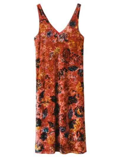 Printed Side Slit Velvet Tank Dress - JACINTH L Mobile