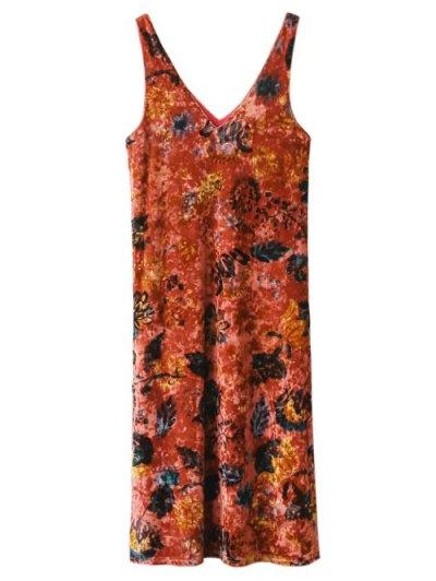 Printed Side Slit Velvet Tank Dress - JACINTH M Mobile