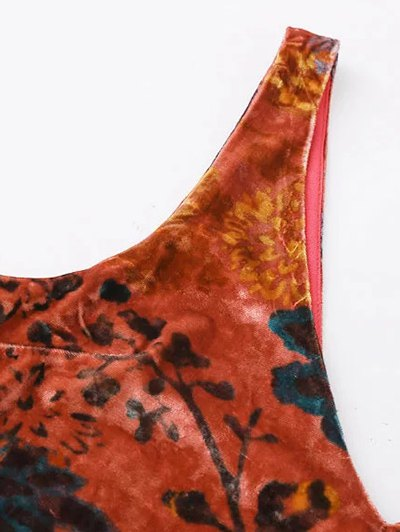 Printed Side Slit Velvet Tank Dress - JACINTH S Mobile