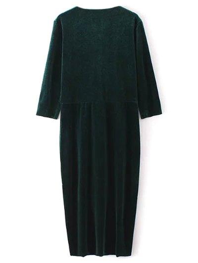 Twist Front V Neck Velvet Dress - GREEN L Mobile