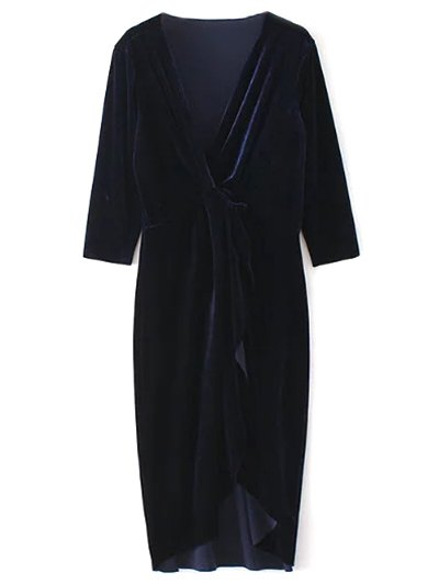 Twist Front V Neck Velvet Dress - PURPLISH BLUE L Mobile