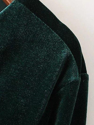 Twist Front V Neck Velvet Dress - PURPLISH BLUE M Mobile