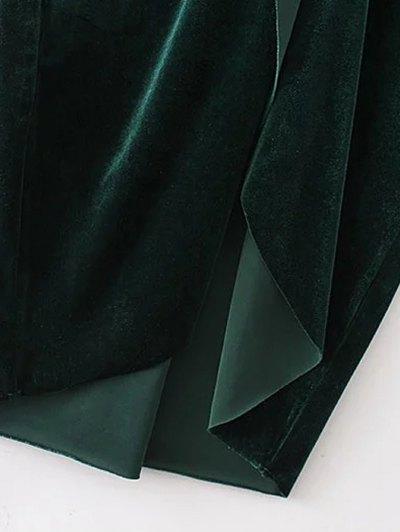 Twist Front V Neck Velvet Dress - PURPLISH BLUE S Mobile