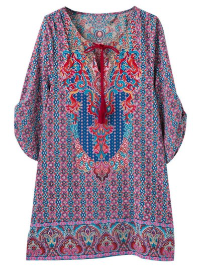 Retro Print V Neck Tunic Dress - COLORMIX L Mobile