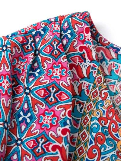 Retro Print V Neck Tunic Dress - COLORMIX M Mobile