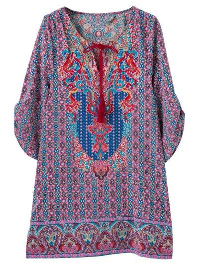 Retro Print V Neck Tunic Dress - COLORMIX S Mobile