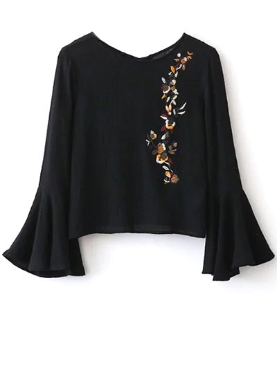 Bell Sleeve Floral Embroidered Blouse - BLACK S Mobile