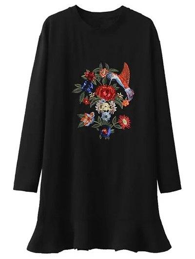 Sequins Floral Embroidered Dress - BLACK S Mobile