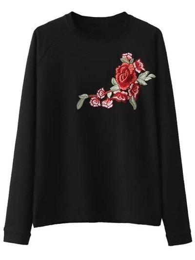 Floral Embroidered Raglan Sleeve Sweatshirt - BLACK S Mobile