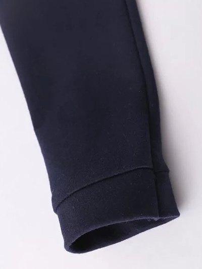 Floral Embroidered Raglan Sleeve Sweatshirt - PURPLISH BLUE L Mobile