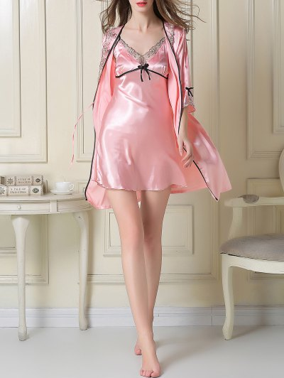 Satin Slip Dress and Sleep Robe - PINK XL Mobile