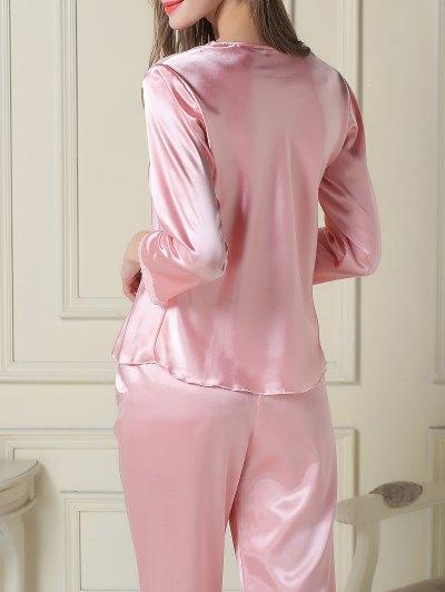 Embroidered Satin Tee and Capri Pants Pajama - PINK XL Mobile