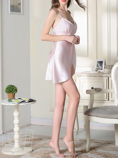 Lace Satin Slip Sleep Dress - PINK M Mobile