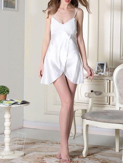 Lace Satin Slip Sleep Dress - WHITE M Mobile