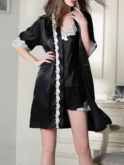 Satin Cami Top and Shorts and Sleep Robe - BLACK M Mobile