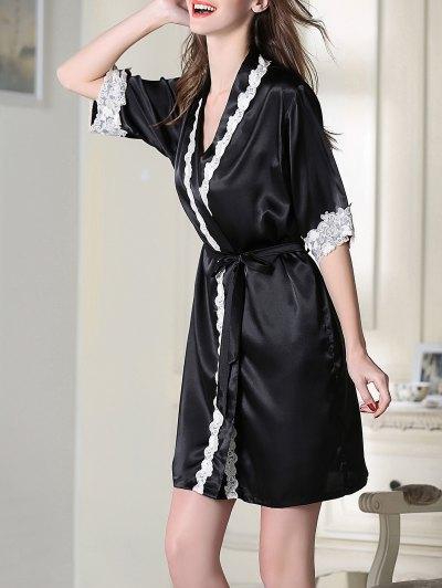 Satin Cami Top and Shorts and Sleep Robe - BLACK 2XL Mobile