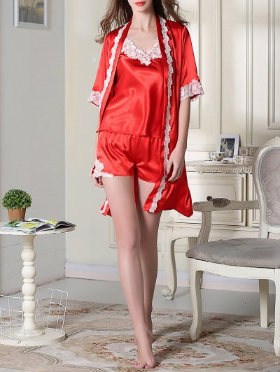 Satin Cami Top and Shorts and Sleep Robe - RED L Mobile
