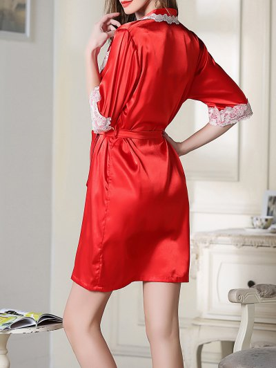 Satin Cami Top and Shorts and Sleep Robe - RED 2XL Mobile