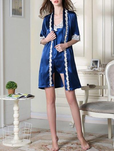 Satin Cami Top and Shorts and Sleep Robe - ROYAL L Mobile