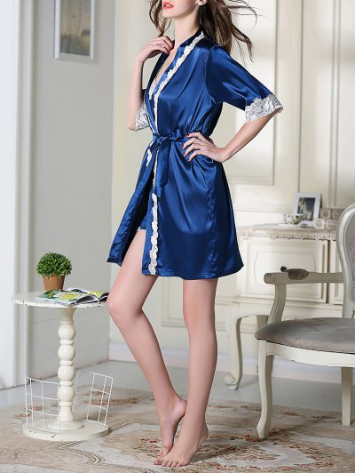 Satin Cami Top and Shorts and Sleep Robe - ROYAL XL Mobile