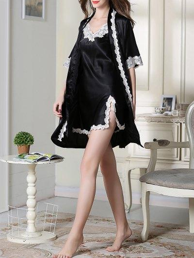 Satin Slip Dress and Belted Sleepover Robe - BLACK M Mobile