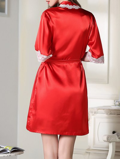 Satin Slip Dress and Belted Sleepover Robe - RED XL Mobile