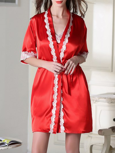 Satin Slip Dress and Belted Sleepover Robe - RED 2XL Mobile