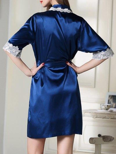 Satin Slip Dress and Belted Sleepover Robe - ROYAL BLUE L Mobile