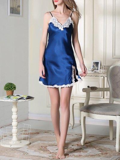 Lace Trimmed Satin Slip Sleep Dress - ROYAL BLUE M Mobile