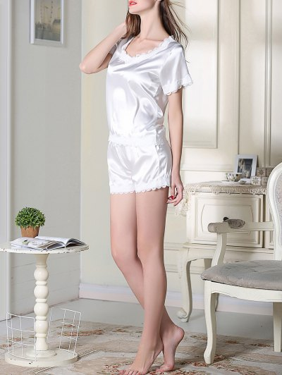 Satin Scoop Tee Boxer Pajama - WHITE XL Mobile
