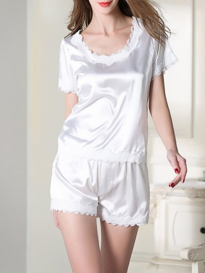 Satin Scoop Tee Boxer Pajama - WHITE 2XL Mobile