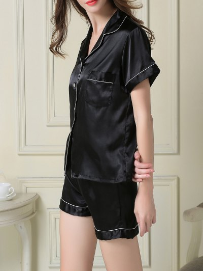 Short Sleeve Satin Boxer Pajama - BLACK L Mobile