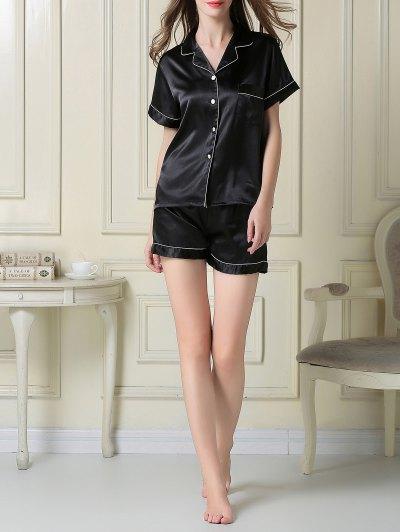 Short Sleeve Satin Boxer Pajama - BLACK XL Mobile