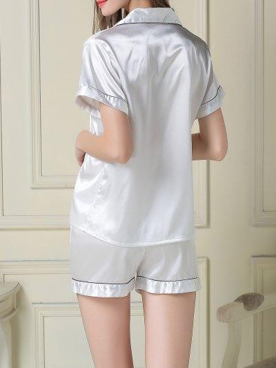 Short Sleeve Satin Boxer Pajama - WHITE L Mobile