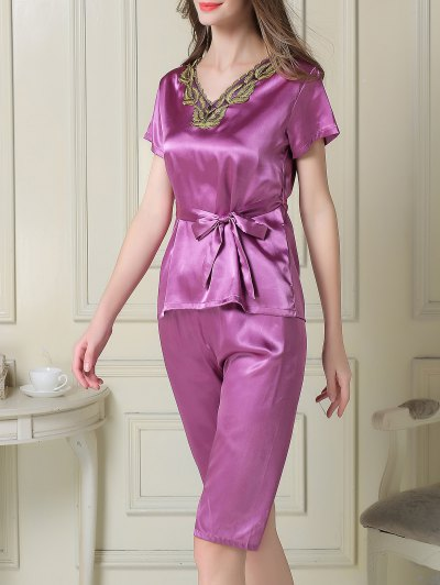Embroidered Neckline Satin Tee and Shorts Pajama - PURPLE L Mobile