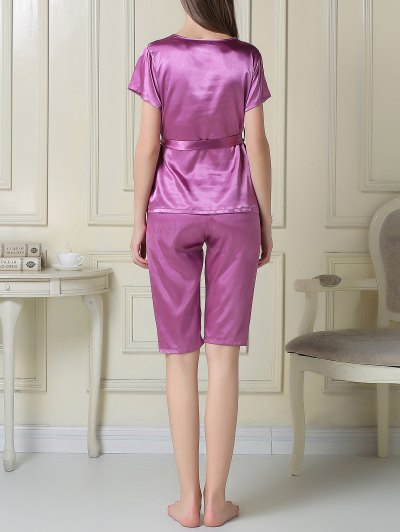Embroidered Neckline Satin Tee and Shorts Pajama - PURPLE XL Mobile