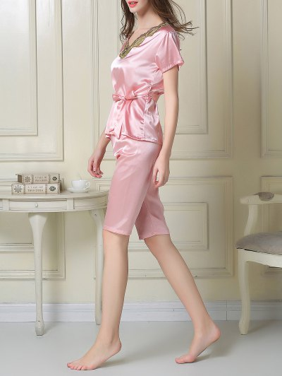 Embroidered Neckline Satin Tee and Shorts Pajama - PINK 2XL Mobile