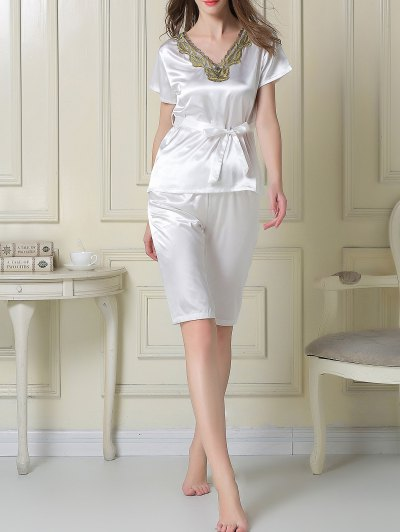 Embroidered Neckline Satin Tee and Shorts Pajama - WHITE M Mobile