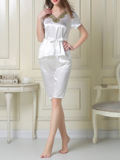 Embroidered Neckline Satin Tee and Shorts Pajama - WHITE XL Mobile