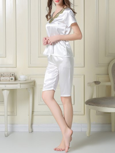 Embroidered Neckline Satin Tee and Shorts Pajama - WHITE 2XL Mobile