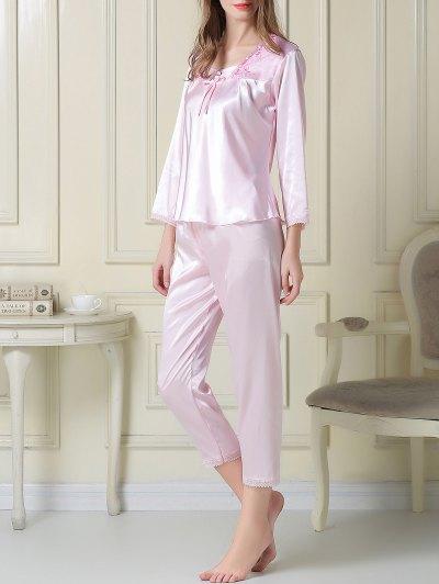 Embroidered Satin Tee and Capri Pants Pajama - LIGHT PINK M Mobile