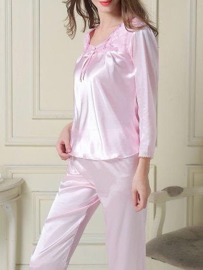 Embroidered Satin Tee and Capri Pants Pajama - LIGHT PINK L Mobile