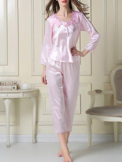 Embroidered Satin Tee and Capri Pants Pajama - LIGHT PINK XL Mobile