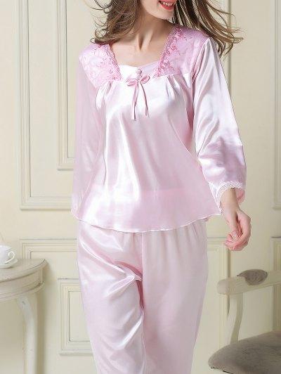 Embroidered Satin Tee and Capri Pants Pajama - LIGHT PINK 2XL Mobile