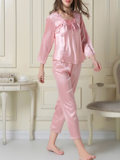 Embroidered Satin Tee and Capri Pants Pajama - PINK M Mobile