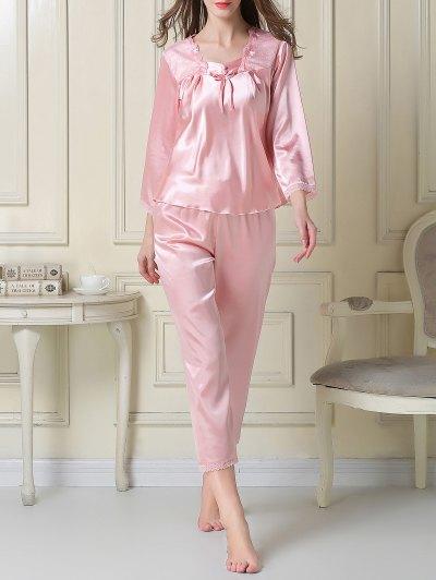 Embroidered Satin Tee and Capri Pants Pajama - PINK 2XL Mobile