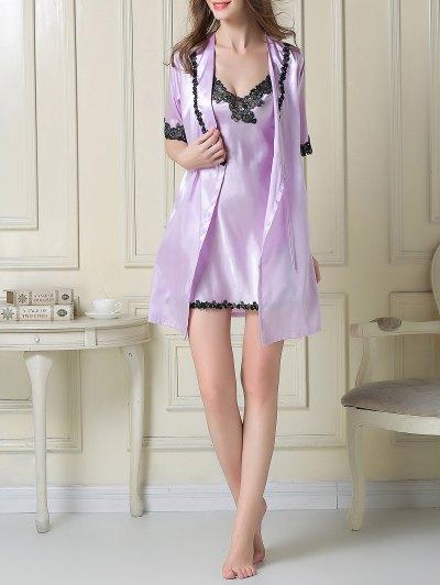 Satin Slip Dress and Belted Sleep Robe - LIGHT PURPLE M Mobile