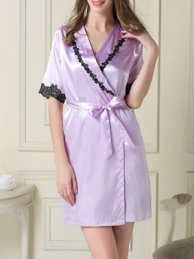 Satin Slip Dress and Belted Sleep Robe - LIGHT PURPLE L Mobile