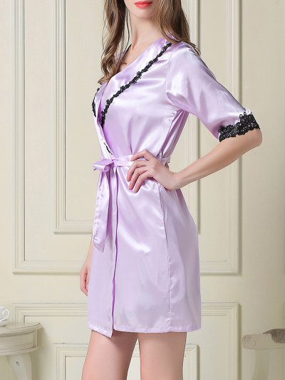 Satin Slip Dress and Belted Sleep Robe - LIGHT PURPLE XL Mobile