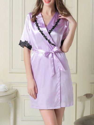 Satin Slip Dress and Belted Sleep Robe - LIGHT PURPLE 2XL Mobile